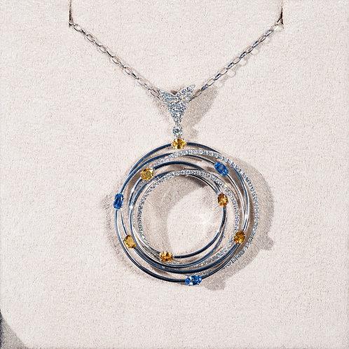 Pendant with Diamonds & Sapphires