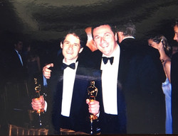 At the Oscars with Composer James Horner after winning 2 Oscars for The Titanic.