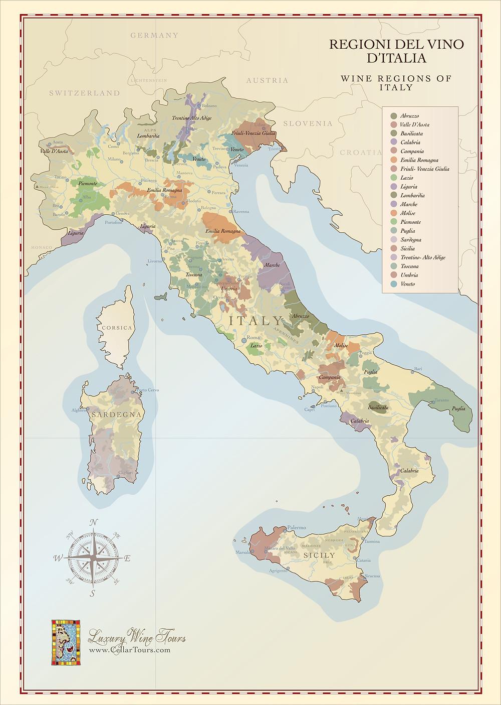 Wine Regions of Italy Map Courtesy of CellarTours.com
