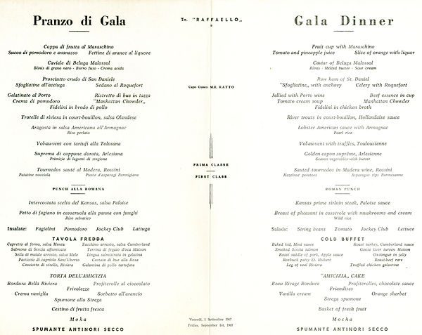 SS Raffaello Gala Dinner Menu
