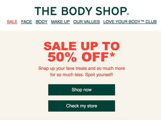 The body shop 五折起+滿30英鎊折5英鎊!機不可失,趕快入手一整年的保養品!