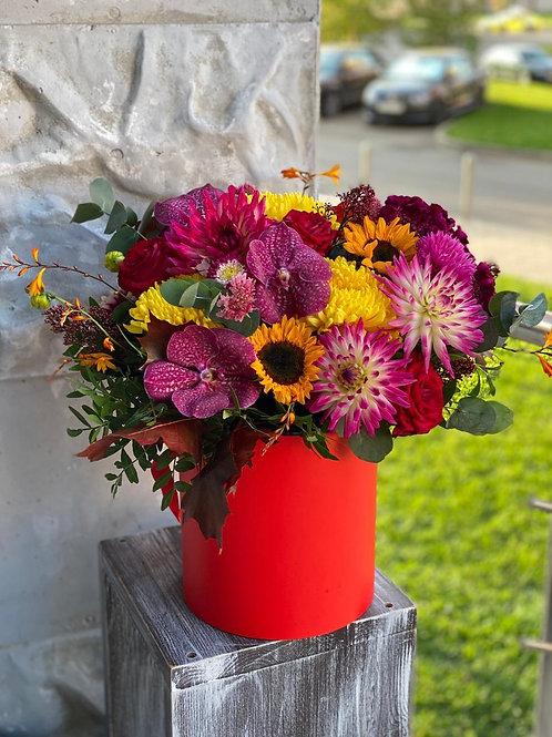 Шляпная коробка с цветами ванды 414