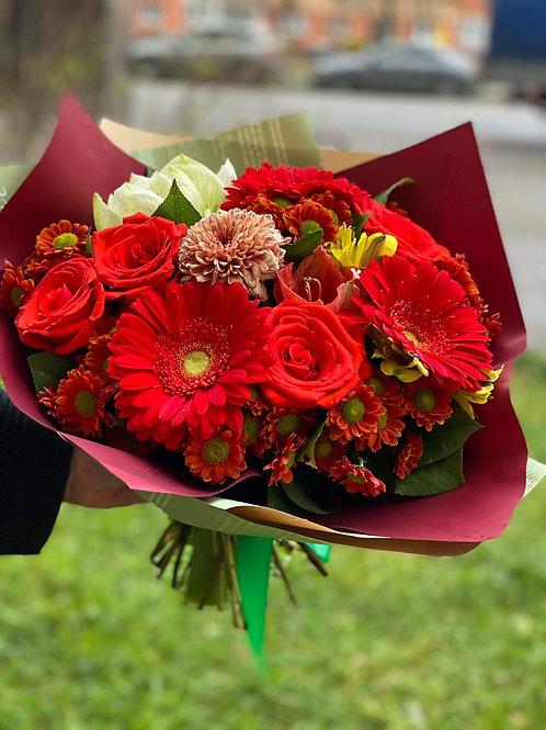 Букет с герберой и розой 454