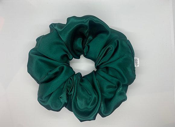 Oversized Emerald Green Silk Scrunchie