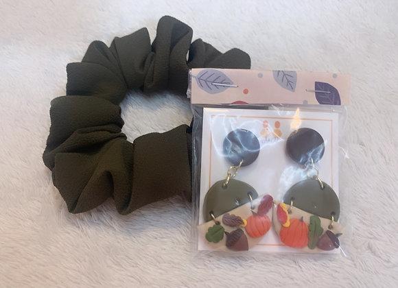 Autumn Harvest Earring & Scrunchie Combo