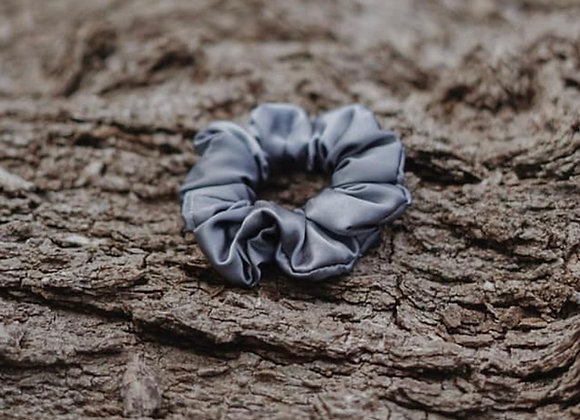 Grey Silk Scrunchie