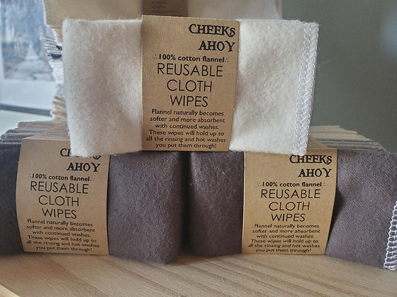 Cheeks Ahoy Reusable Cotton Flannel Cloth Wipes 10PK