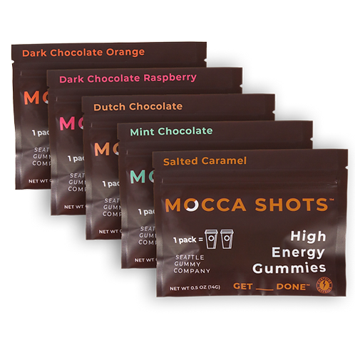 Mocca Shots Chocolate Caffeine Gummy Variety Pack 12x2 Shots 200mg Caffeine/Pack