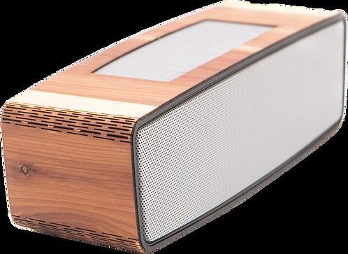 Alto-falante Bluetooth portátil feito de madeira artesanal
