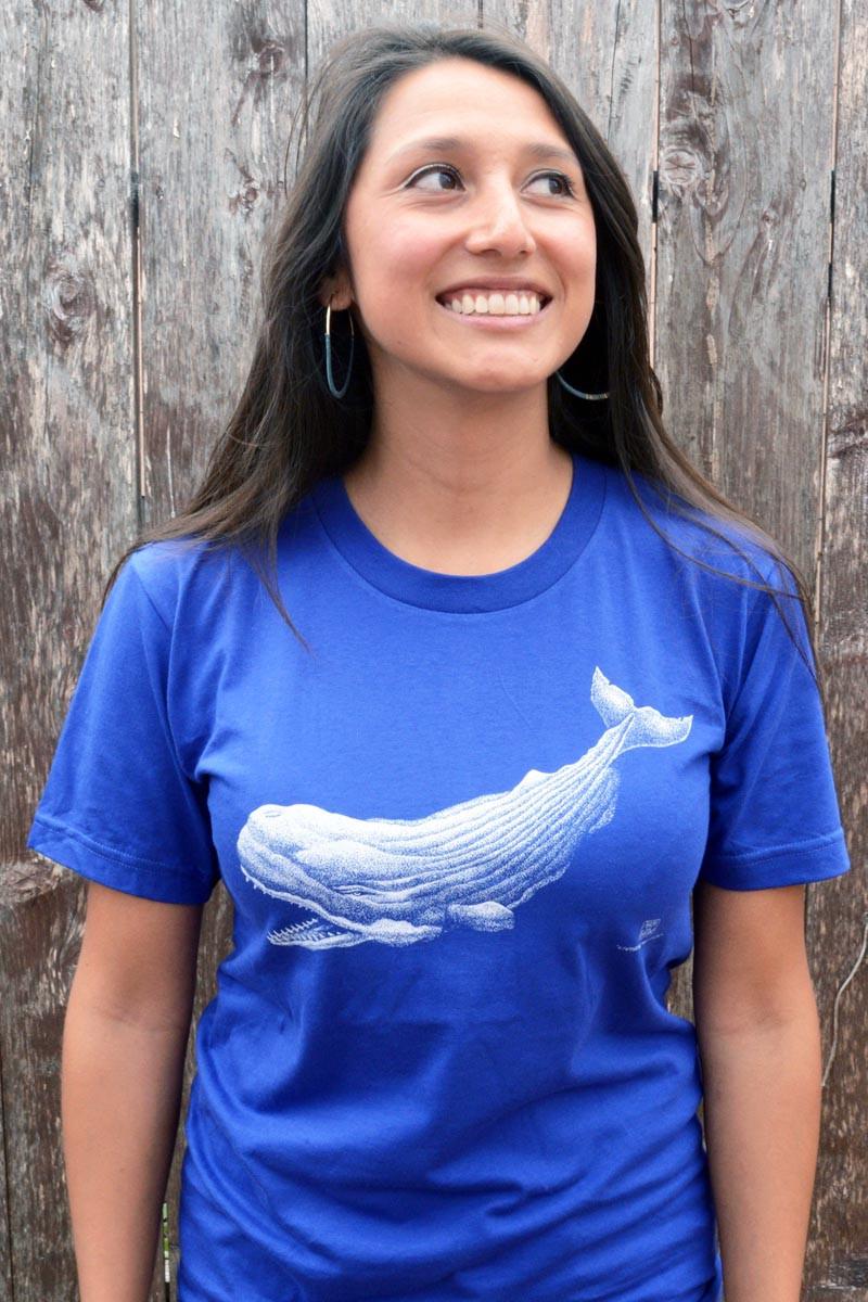 Vicky Vasquez rocking Cotton Crustacean's Levyatan, a prehistoric sperm whale t-shirt