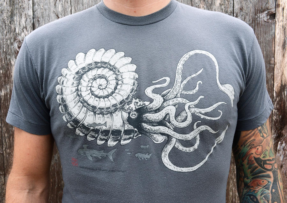 Cotton Crustacean's new Giant Ammonite t-shirt