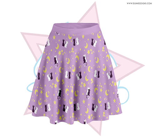 MOON KITTIES LUNA & ARTEMIS | SKATER SKIRT |  SAILOR MOON
