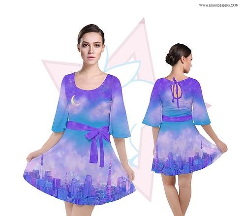 DREAMY JAPAN | BELL SLEEVE VELOUR DRESS | ORIGINAL