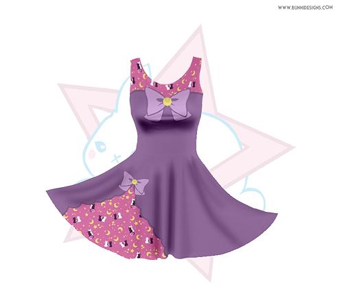 MOON KITTIES - ARTEMIS & LUNA    SKATER DRESS   SAILOR MOON