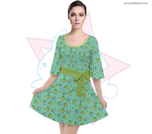 BULBASAUR | BELL SLEEVE VELOUR DRESS | POKEMON