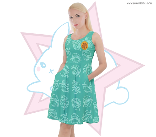TIMMY & TOMMY ALOHA LEAF PRINT | SKATER DRESS | ANIMAL CROSSING | NEW HORIZONS