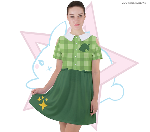 ISABELLE GINGHAM | CUT OUT SLEEVE DRESS | ANIMAL CROSSING | AC
