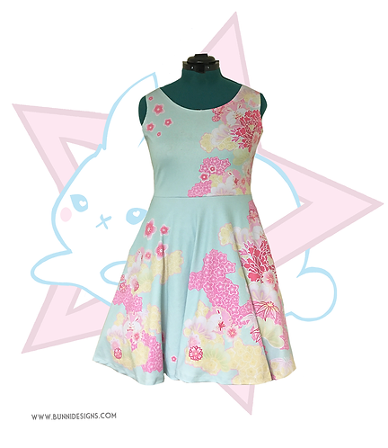 KIMONO SPRING | SLEEVELESS SKATER DRESS | ORIGINAL