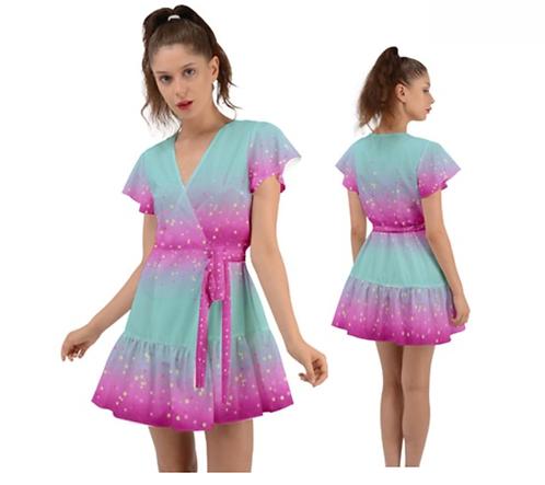 FAIRY KEI SPARKLE STARS   FLUTTER WRAP DRESS   ORIGINAL