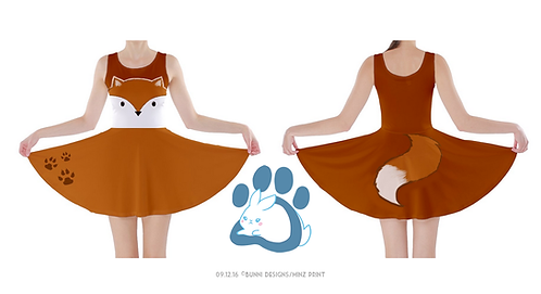 KITSUNE FOX BROWN | SKATER DRESS | ORIGINAL