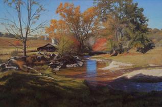 """Bright Riverbank in Autumn"""
