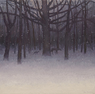 """Fawn in an Evening Snowfall"""