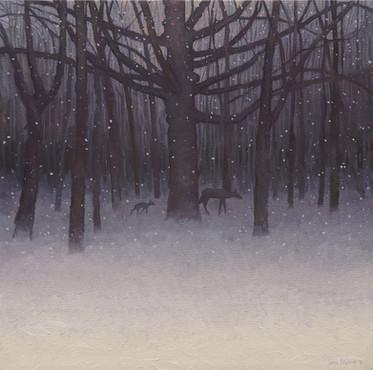 """Fawn in an Evening Snowfall"""