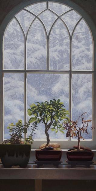 """Snowy Morning Windowsill"""