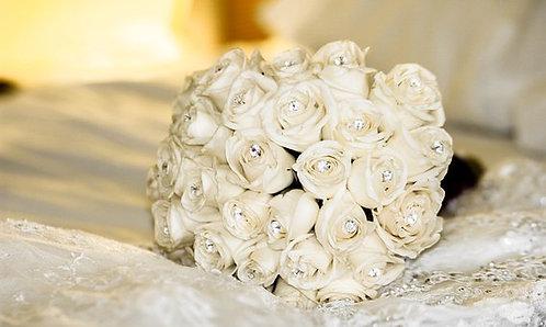 white rose and diamante wedding bouquet.