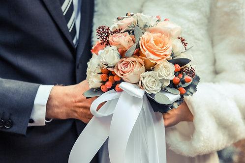 wedding bouquet- peaches, orange and whites