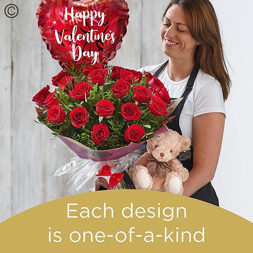 Valentine's 24 red rose hand-tied gift set