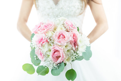 Wedding posy-mixed white and pinks.