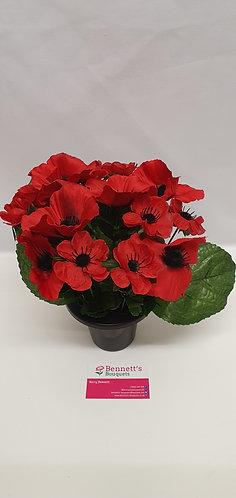 Silk Flower Poppy Grave Pot