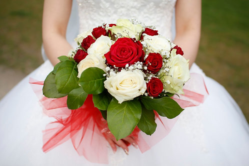 wedding bouquet- red and whites.