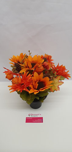Autumnal Silk Flower Grave Pot
