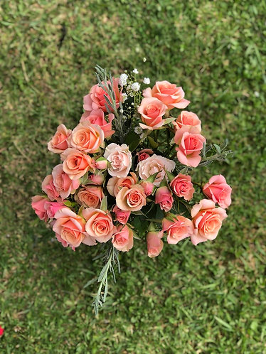 Hand Tied bouquet- pink shades.