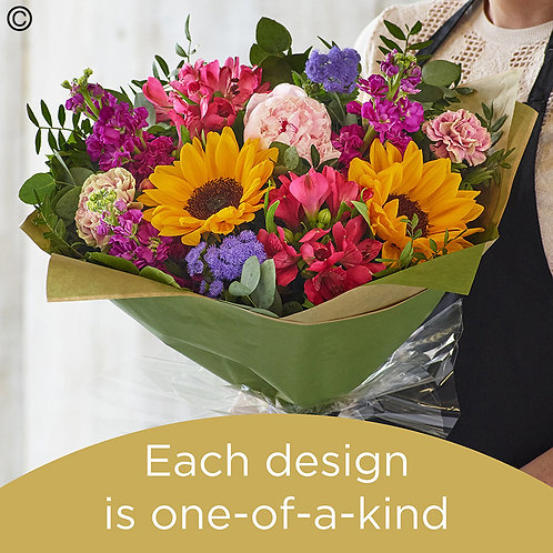 Summer hand-tied bouquet made with the finest flowers
