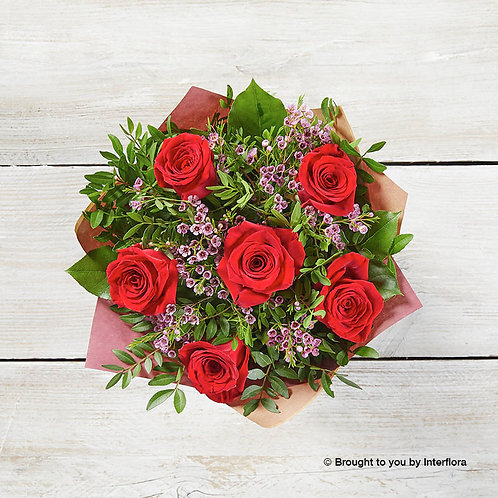 6 Red Rose Hand-tied