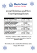 2018/2019 Christmas and New Years Opening Hours