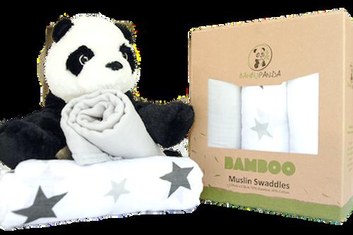 BAMBU PANDA  MUSLIN SWADDLE - 3 PACK
