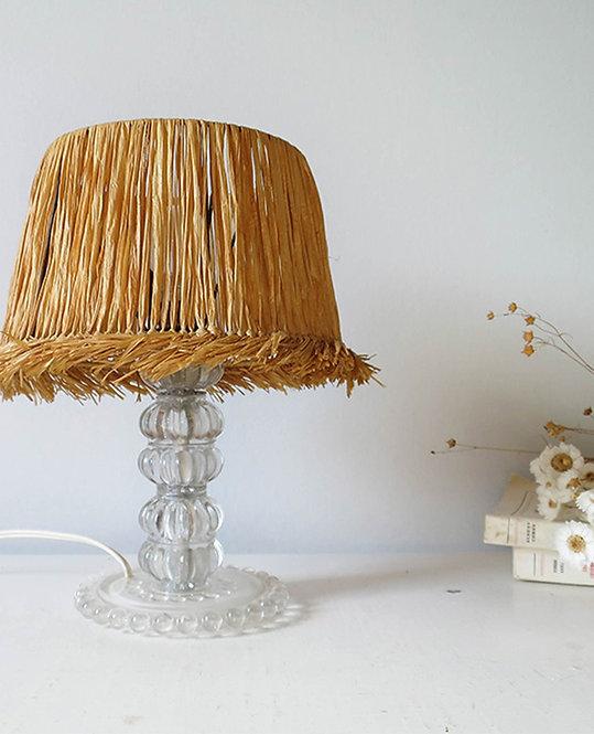 lampe vintage cristal abat jour raphia
