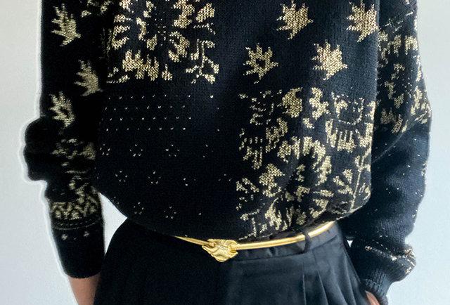 pull noel vintage 80 noir dore | Hier Store