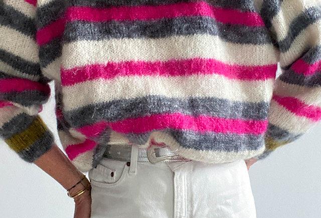 pull arc-en-ciel tricoté main mohair