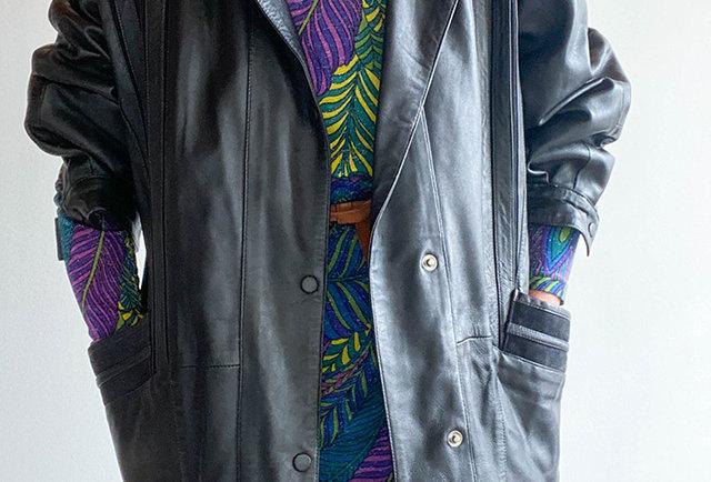 veste en cuir vintage années 80