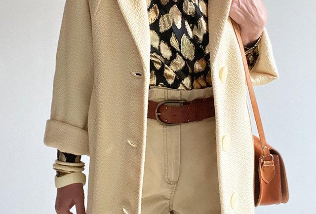 manteau beige vintage beige | Hier Store