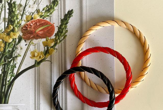 bracelet resine torsade vintage pour jeune fille