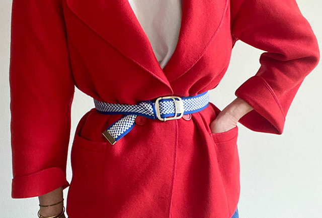 veste vintage années 80 couleur rouge | made in France
