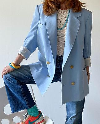 blazer oversize bleu vintage 80 hier sto