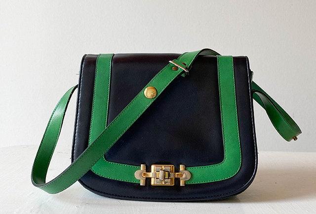 sac besace en cuir bleu marine vintage | hier store