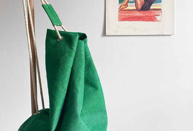 grand sac a dos vert plage vintage